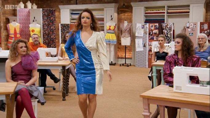 nicole blue and white shiny dress