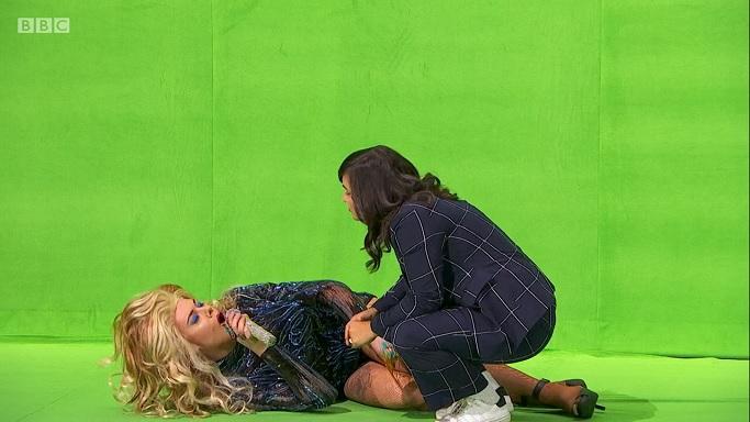 rita on the floor